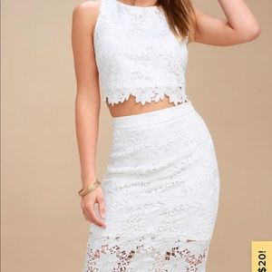 White Two Piece Lulus Dress, Look at me Wow